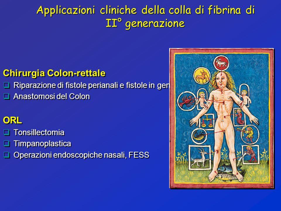 Applicazioni cliniche della colla di fibrina di II° generazione