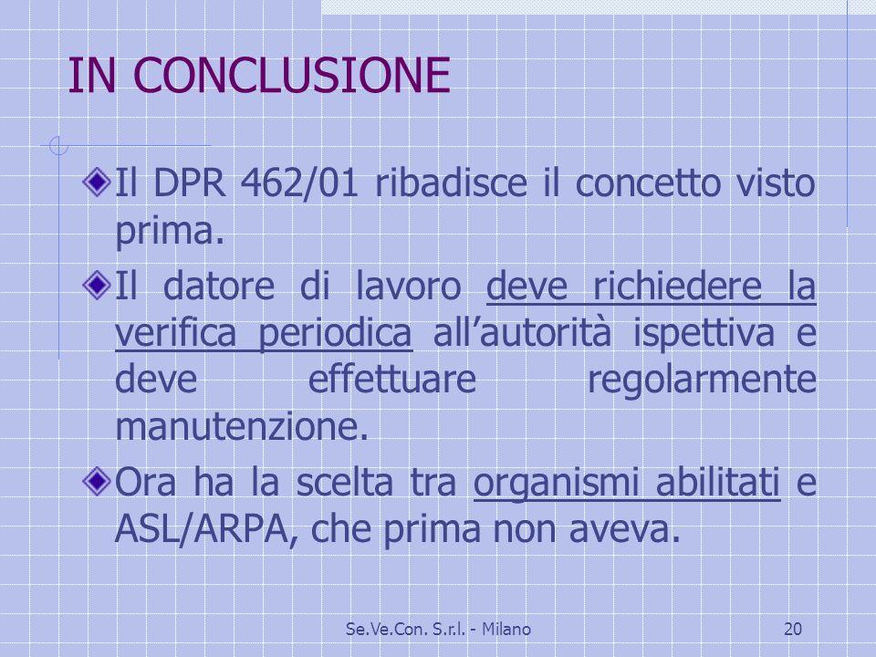IN CONCLUSIONE Il DPR 462/01 ribadisce il concetto visto prima.