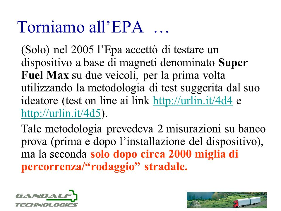 Torniamo all'EPA …