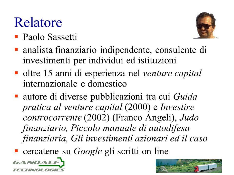 Relatore Paolo Sassetti