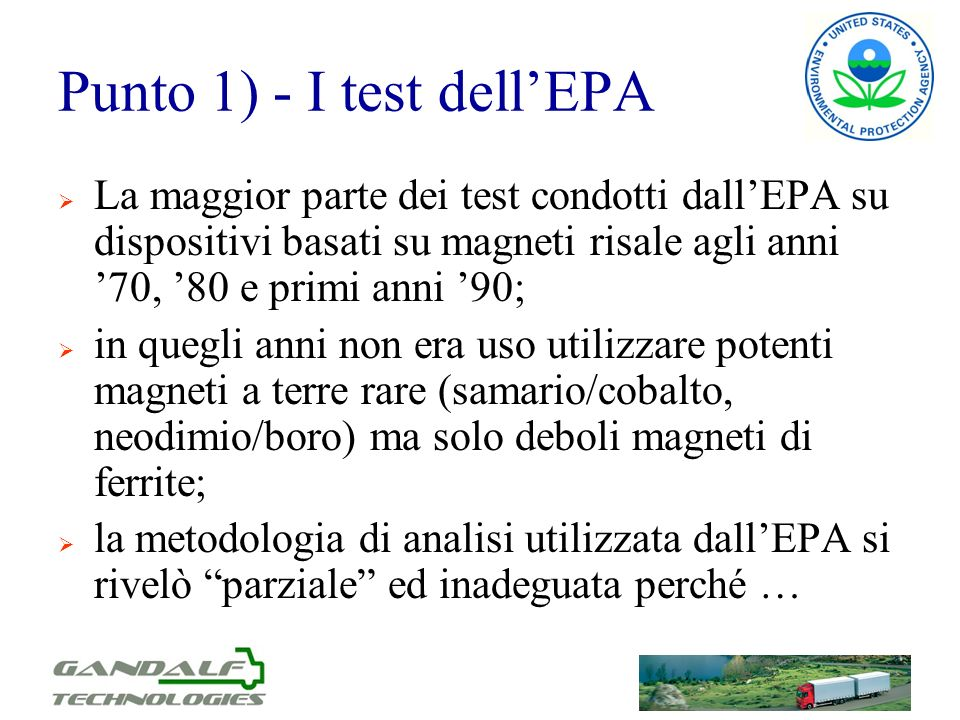 Punto 1) - I test dell'EPA