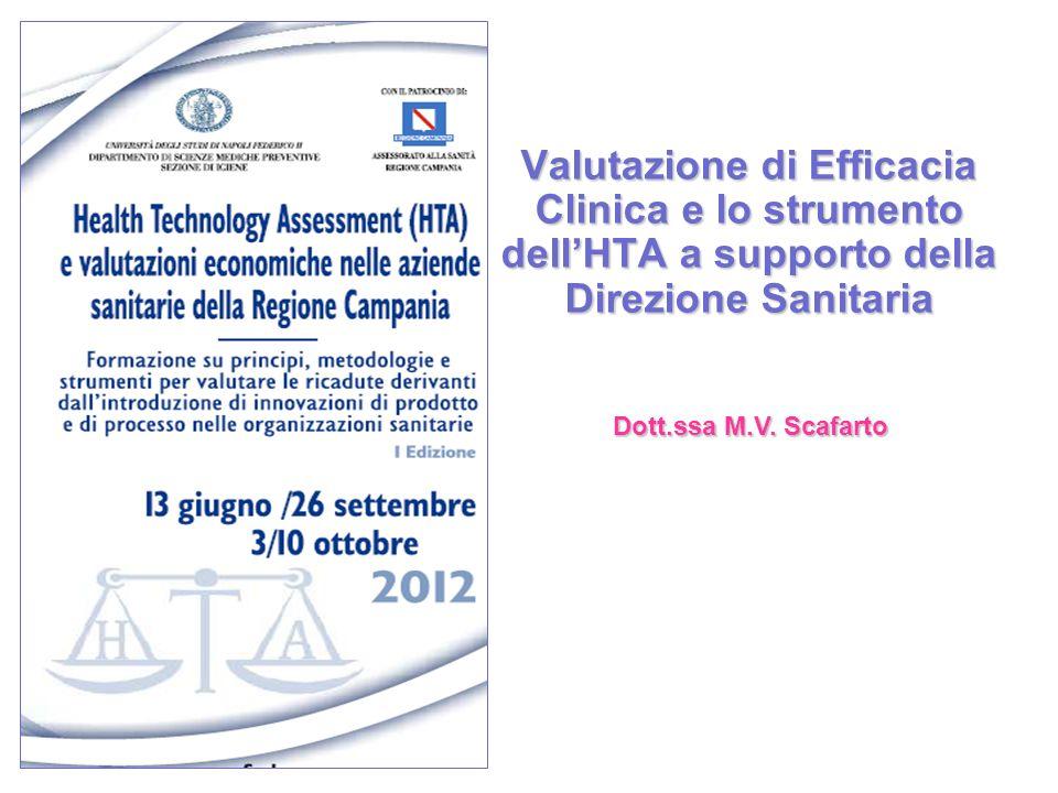 Valutazione di Efficacia Clinica e lo strumento dell'HTA a supporto della Direzione Sanitaria