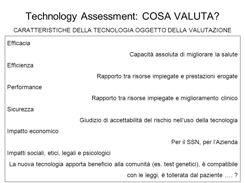 Technology Assessment: COSA VALUTA