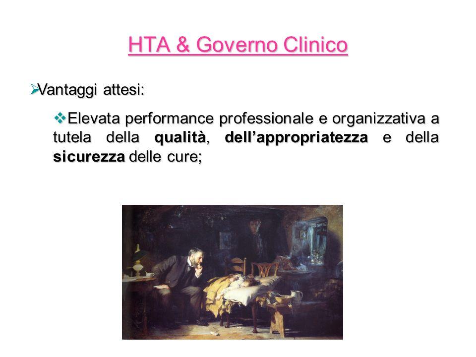 HTA & Governo Clinico Vantaggi attesi: