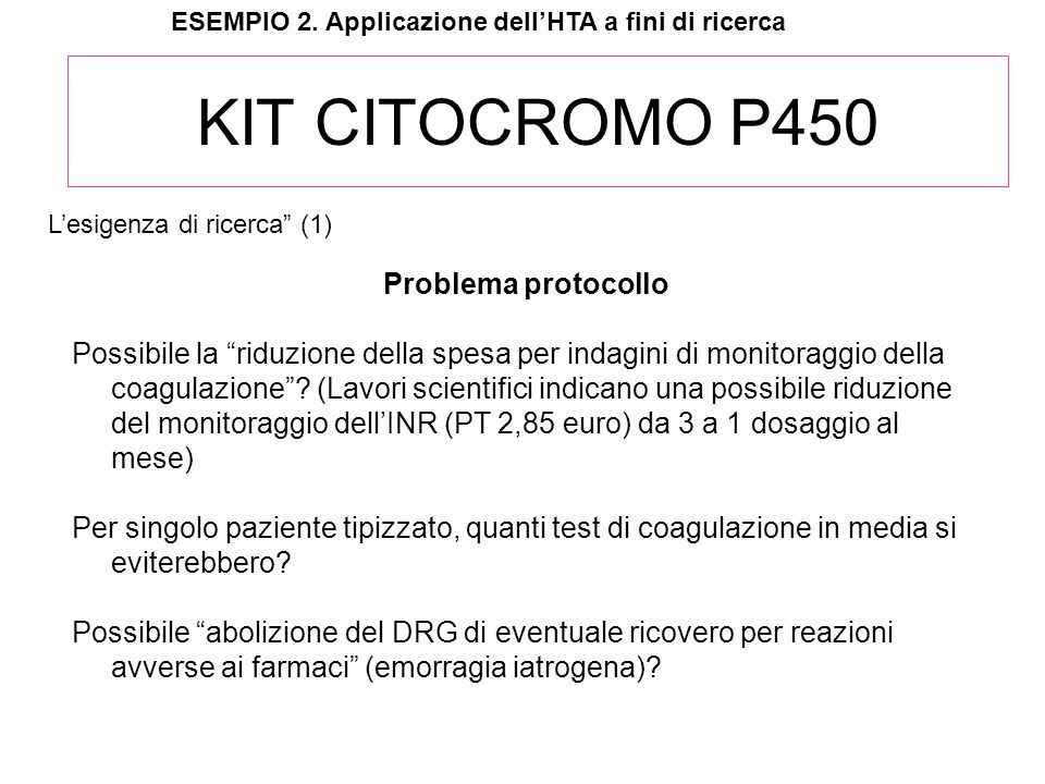 KIT CITOCROMO P450 Problema protocollo