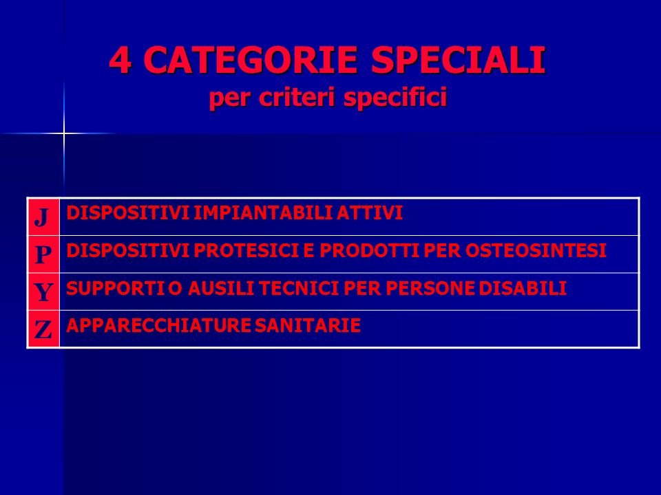 4 CATEGORIE SPECIALI per criteri specifici