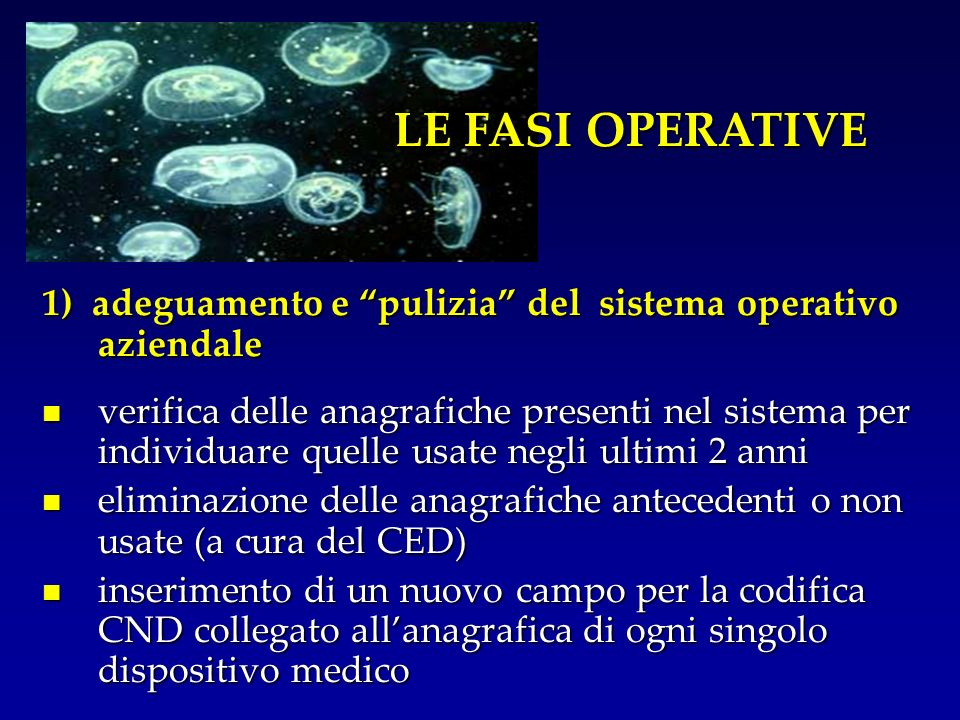 LE FASI OPERATIVE 1) adeguamento e pulizia del sistema operativo aziendale.