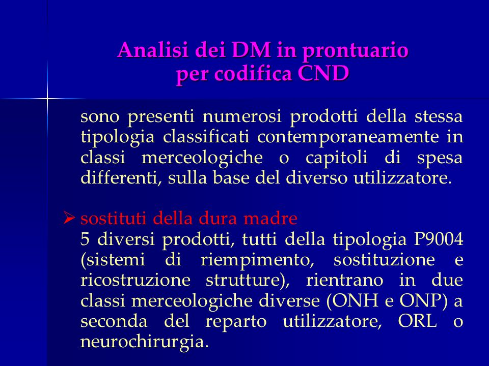 Analisi dei DM in prontuario