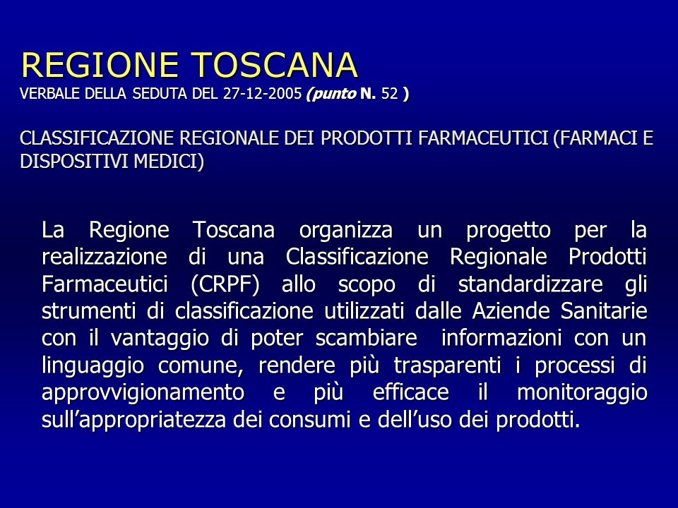 REGIONE TOSCANA VERBALE DELLA SEDUTA DEL 27-12-2005 (punto N