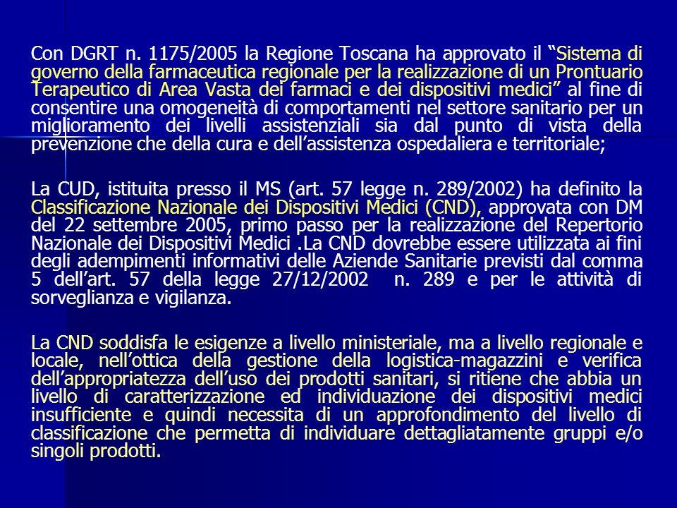 Con DGRT n. 1175/2005 la Regione Toscana ha approvato il Sistema di governo della farmaceutica regionale per la realizzazione di un Prontuario Terapeutico di Area Vasta dei farmaci e dei dispositivi medici al fine di consentire una omogeneità di comportamenti nel settore sanitario per un miglioramento dei livelli assistenziali sia dal punto di vista della prevenzione che della cura e dell'assistenza ospedaliera e territoriale;