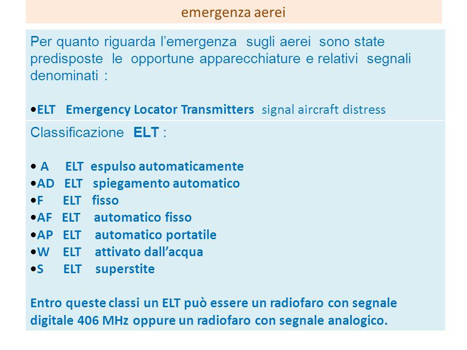emergenza aerei Per quanto riguarda l'emergenza sugli aerei sono state predisposte le opportune apparecchiature e relativi segnali denominati :