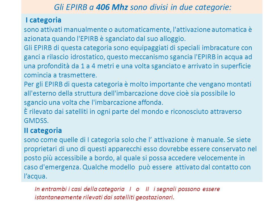 Gli EPIRB a 406 Mhz sono divisi in due categorie: