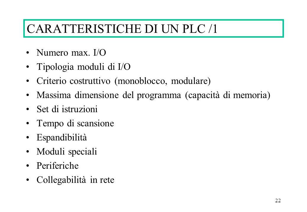 CARATTERISTICHE DI UN PLC /1