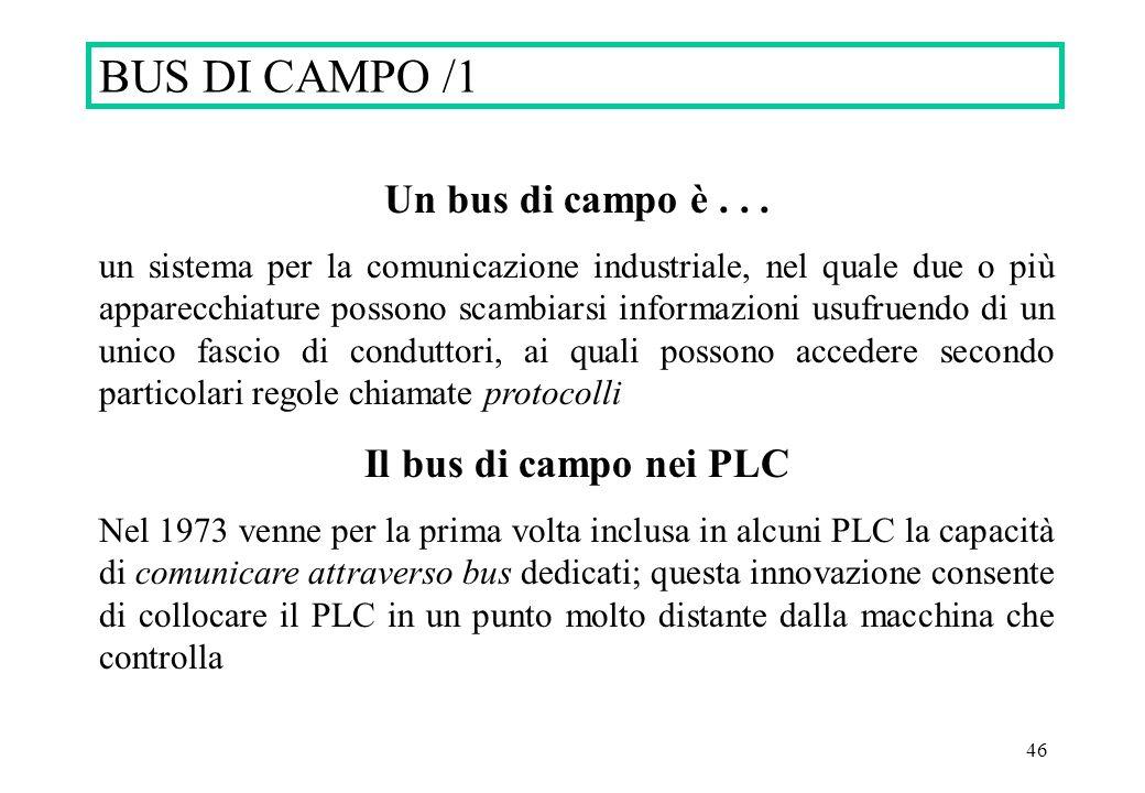 BUS DI CAMPO /1 Un bus di campo è . . . Il bus di campo nei PLC