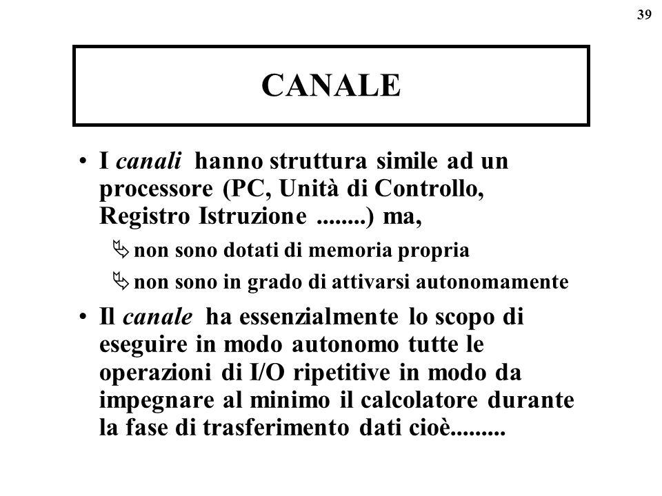 CANALE I canali hanno struttura simile ad un processore (PC, Unità di Controllo, Registro Istruzione ........) ma,
