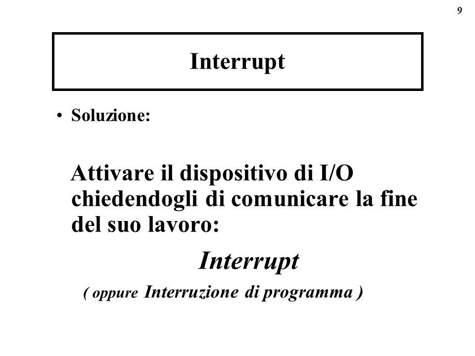 Interrupt Soluzione: Attivare il dispositivo di I/O chiedendogli di comunicare la fine del suo lavoro: