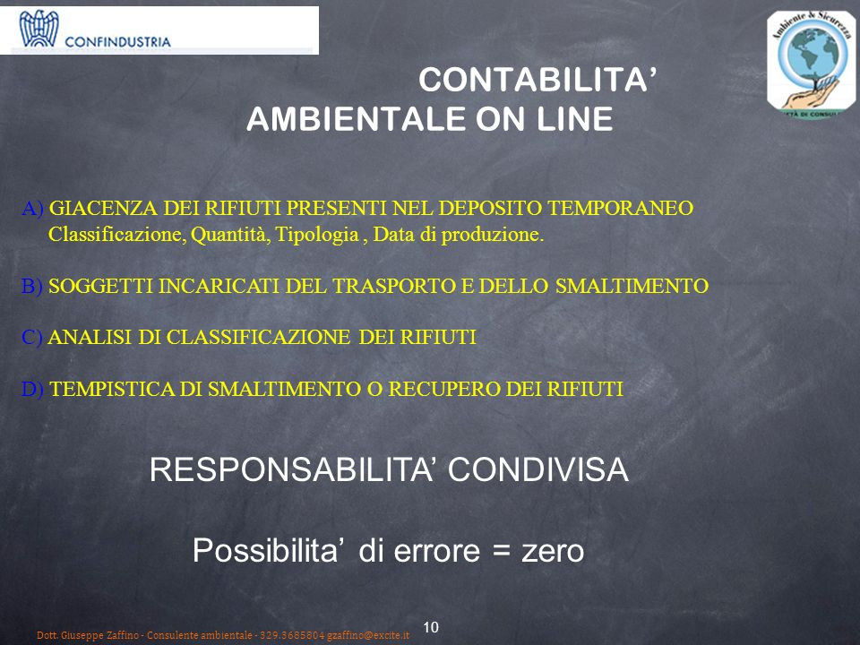 CONTABILITA' AMBIENTALE ON LINE