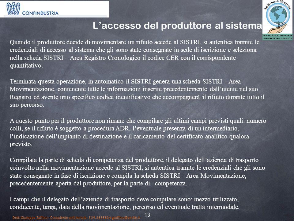 L'accesso del produttore al sistema