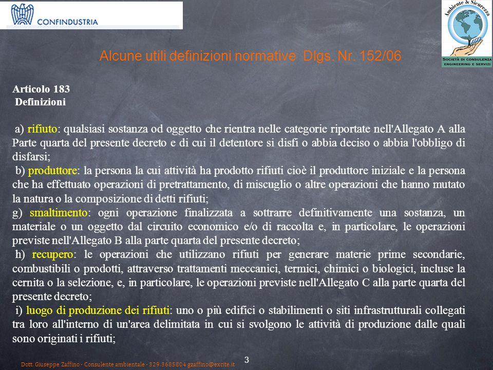 Alcune utili definizioni normative Dlgs. Nr. 152/06