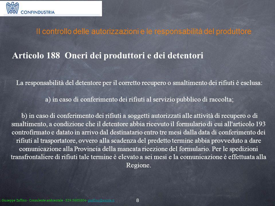 Il controllo delle autorizzazioni e le responsabilità del produttore