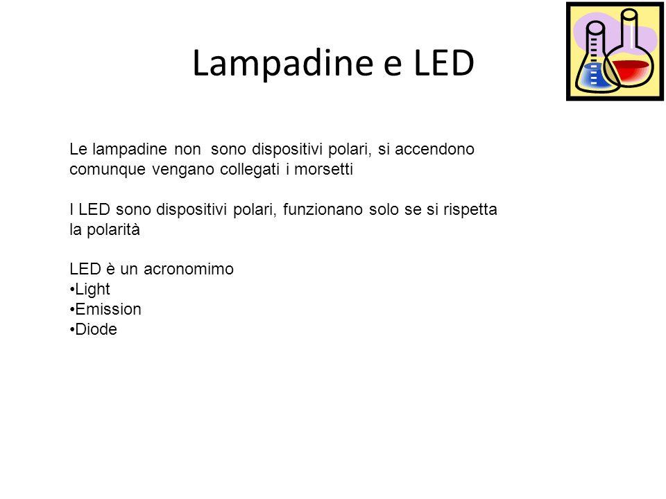 Lampadine e LED Le lampadine non sono dispositivi polari, si accendono comunque vengano collegati i morsetti.