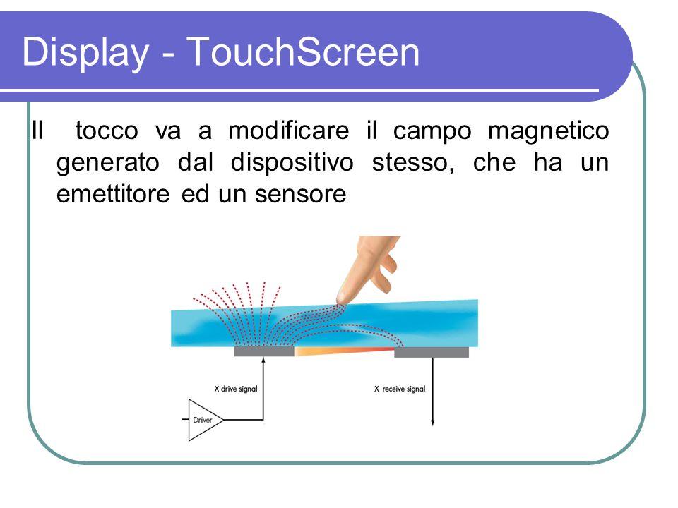 Display - TouchScreen Il tocco va a modificare il campo magnetico generato dal dispositivo stesso, che ha un emettitore ed un sensore.
