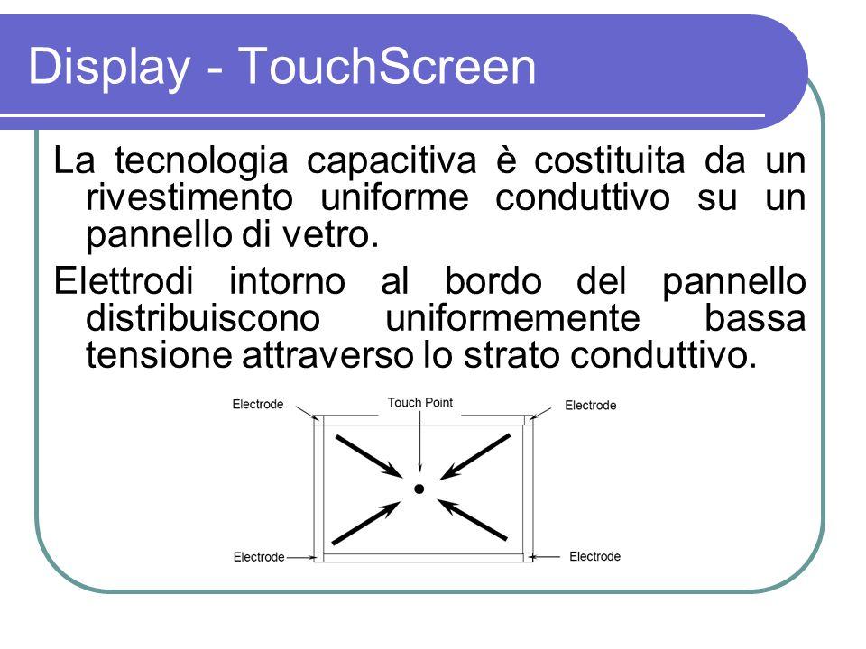 Display - TouchScreen La tecnologia capacitiva è costituita da un rivestimento uniforme conduttivo su un pannello di vetro.