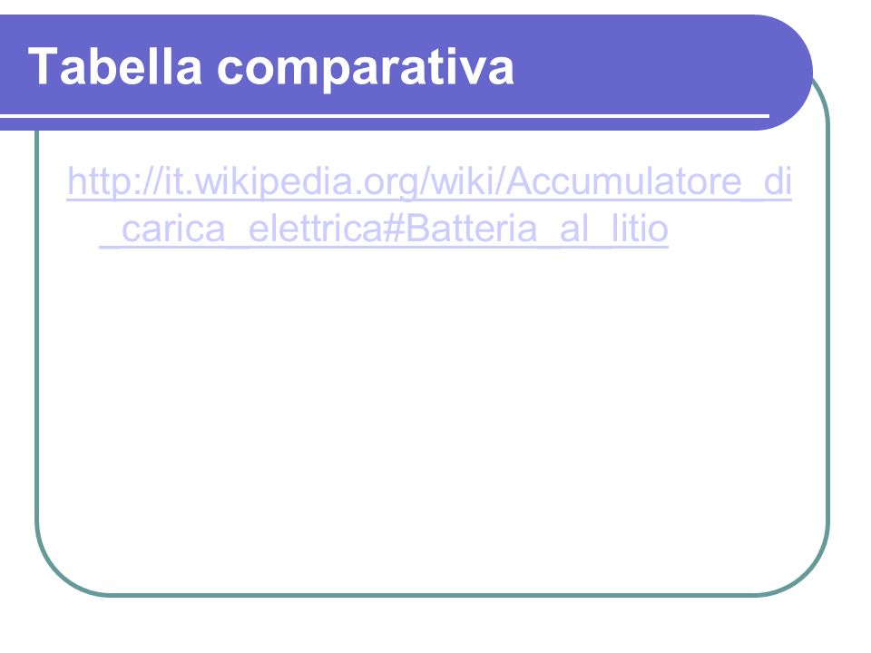 Tabella comparativa http://it.wikipedia.org/wiki/Accumulatore_di _carica_elettrica#Batteria_al_litio.