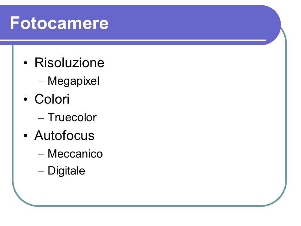 Fotocamere Risoluzione Colori Autofocus Megapixel Truecolor Meccanico