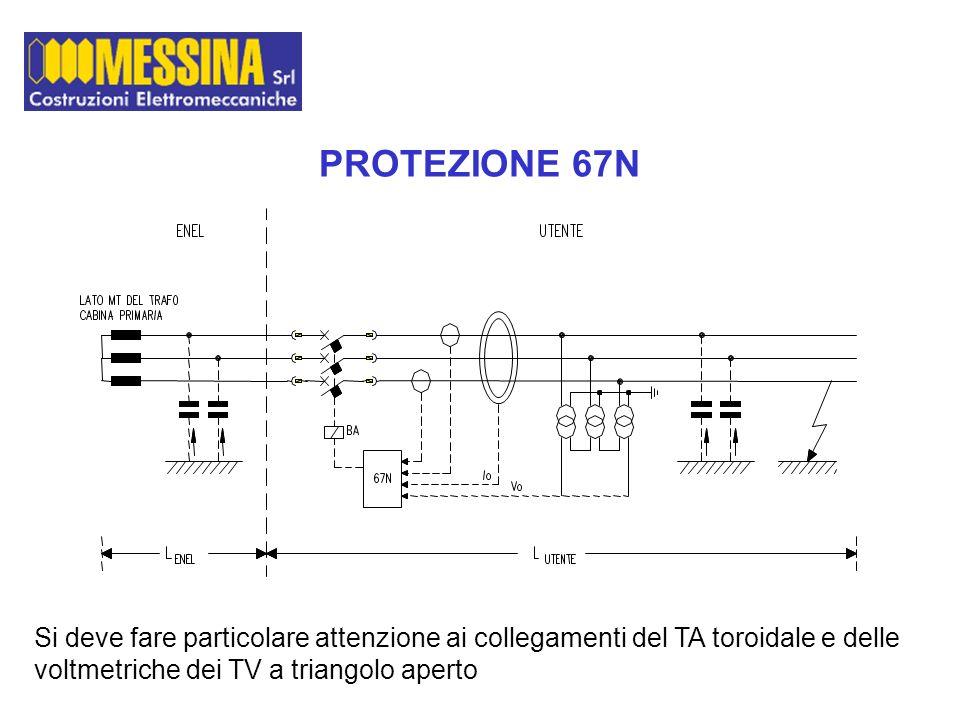 PROTEZIONE 67N Si deve fare particolare attenzione ai collegamenti del TA toroidale e delle voltmetriche dei TV a triangolo aperto.