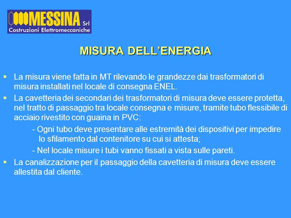 MISURA DELL'ENERGIA La misura viene fatta in MT rilevando le grandezze dai trasformatori di misura installati nel locale di consegna ENEL.