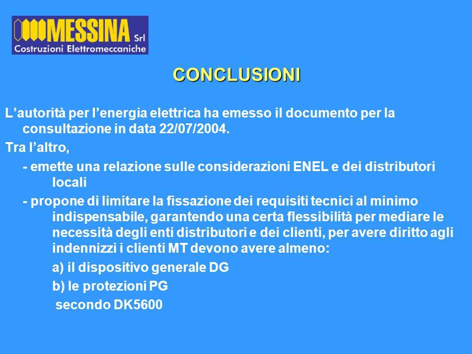 CONCLUSIONI L'autorità per l'energia elettrica ha emesso il documento per la consultazione in data 22/07/2004.