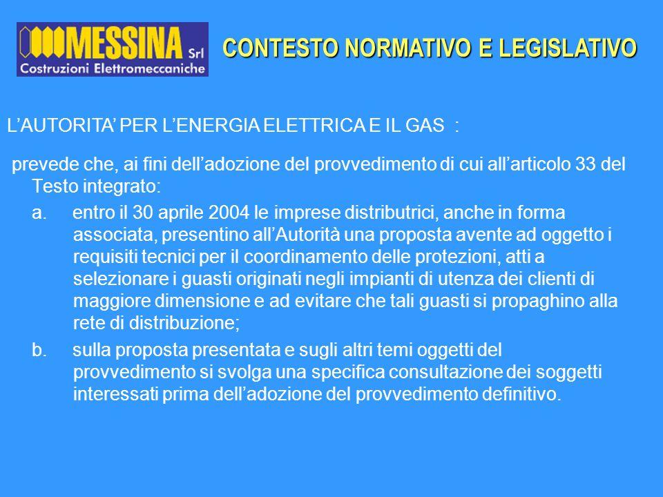 CONTESTO NORMATIVO E LEGISLATIVO