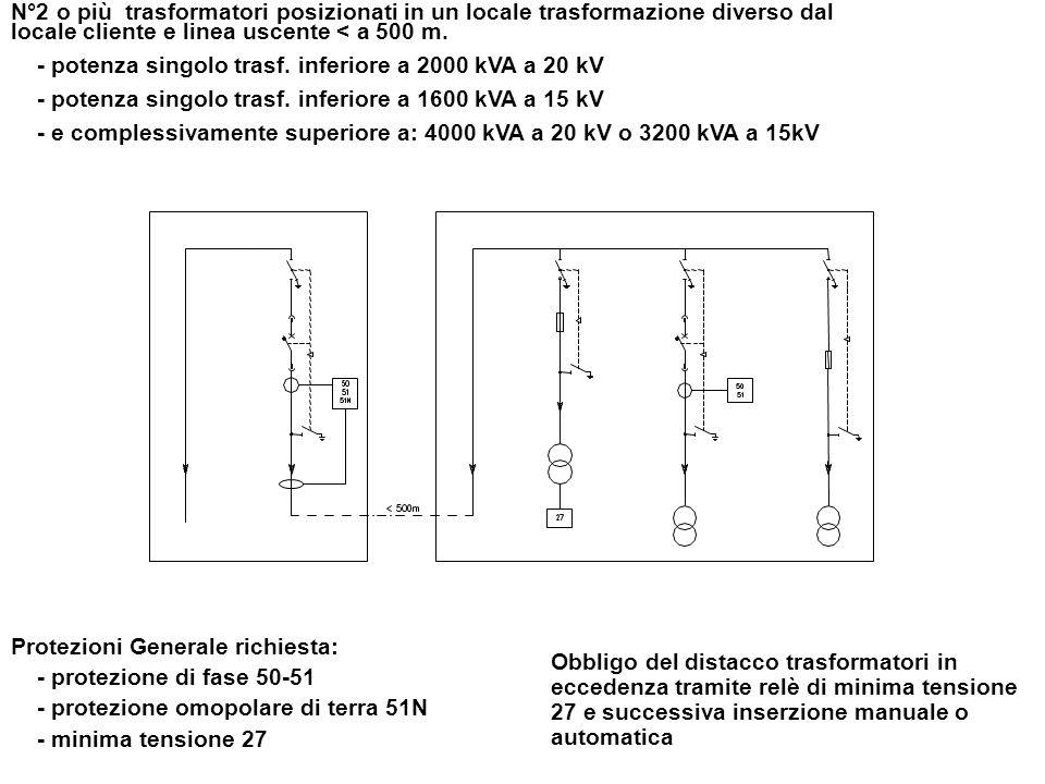 N°2 o più trasformatori posizionati in un locale trasformazione diverso dal locale cliente e linea uscente < a 500 m.