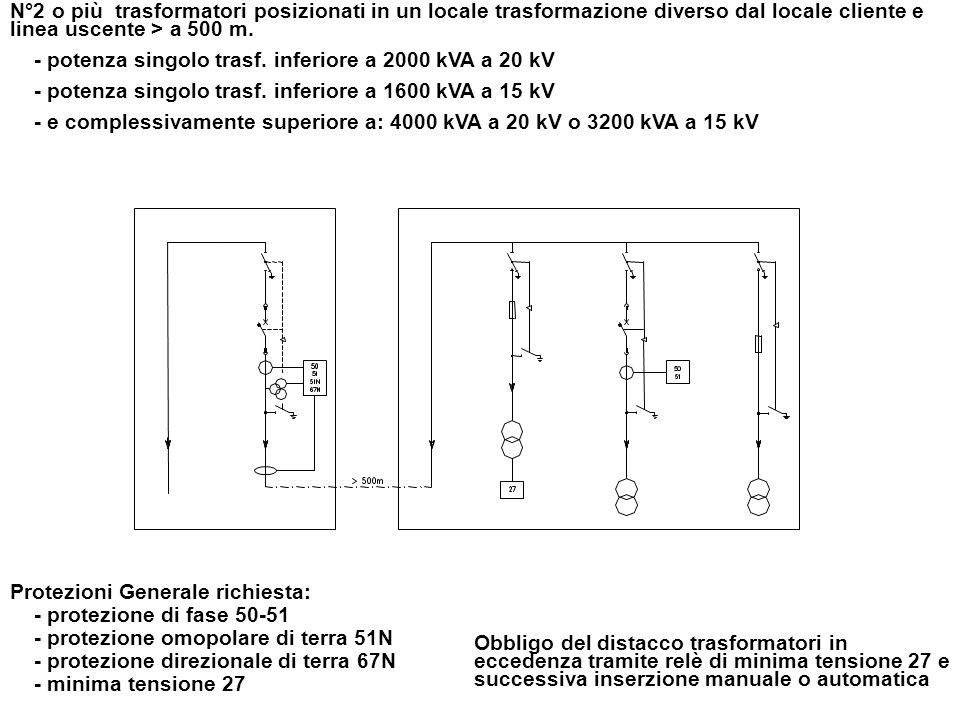 N°2 o più trasformatori posizionati in un locale trasformazione diverso dal locale cliente e linea uscente > a 500 m.