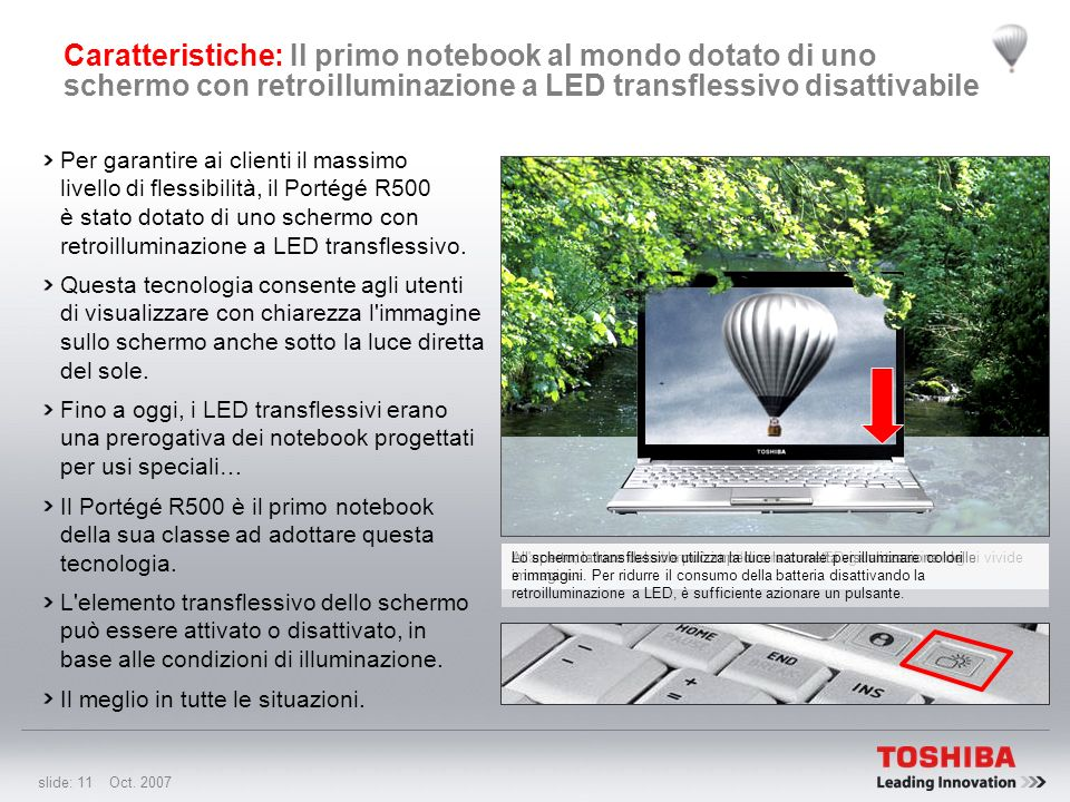 Caratteristiche: Il primo notebook al mondo dotato di uno schermo con retroilluminazione a LED transflessivo disattivabile