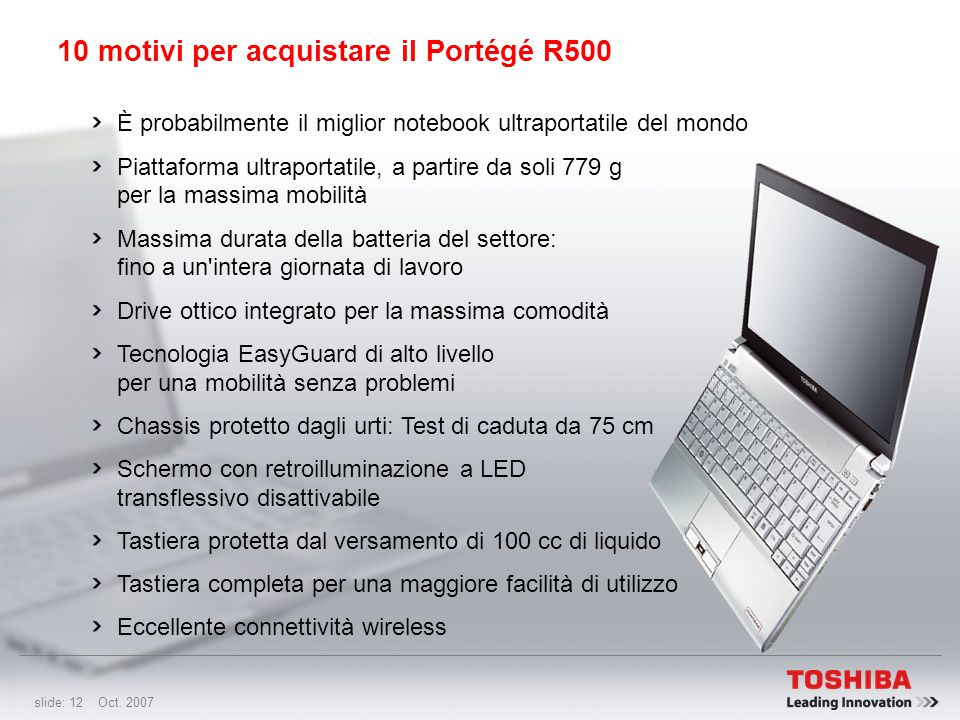 10 motivi per acquistare il Portégé R500