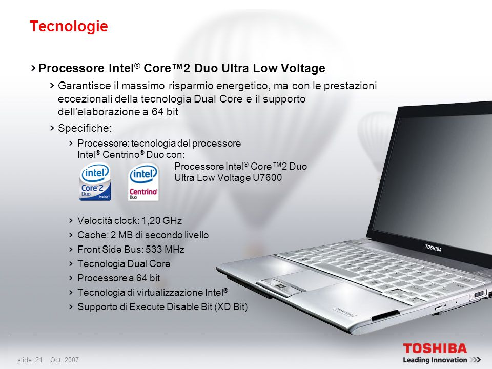 Tecnologie Processore Intel® Core™2 Duo Ultra Low Voltage