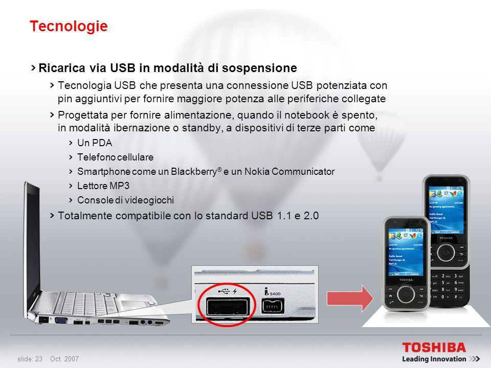 Tecnologie Ricarica via USB in modalità di sospensione