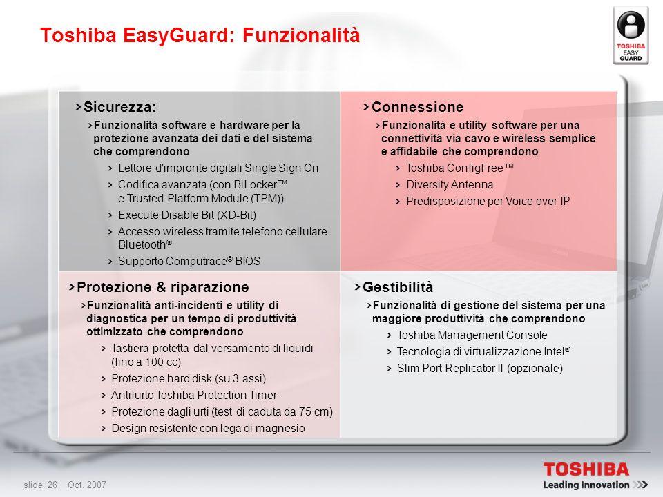Toshiba EasyGuard: Funzionalità
