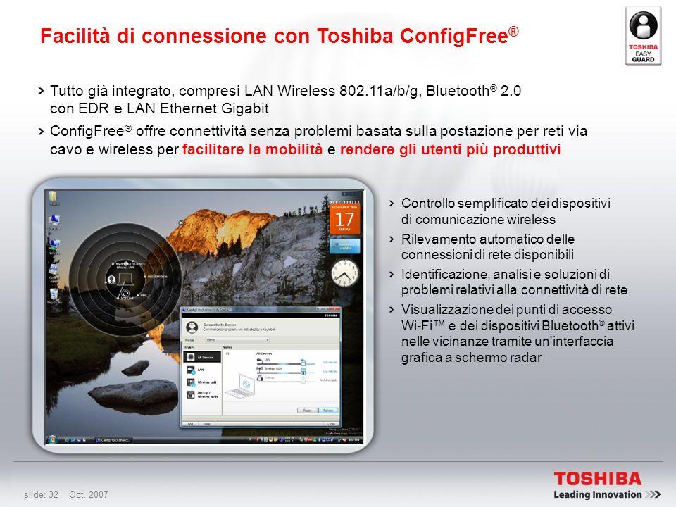 Facilità di connessione con Toshiba ConfigFree®