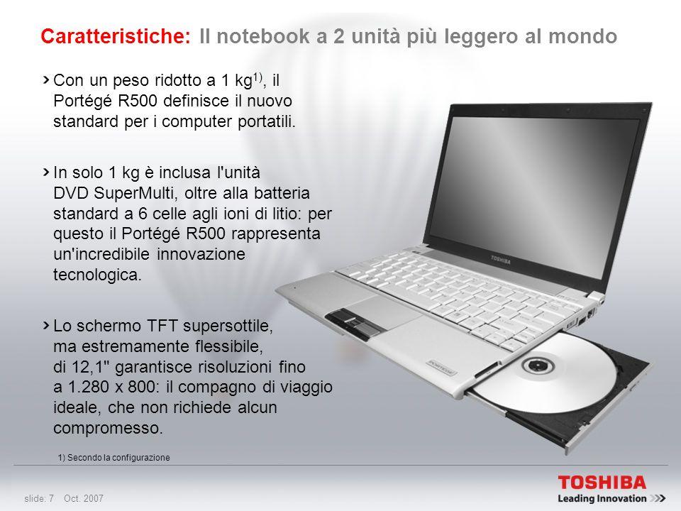 Caratteristiche: Il notebook a 2 unità più leggero al mondo
