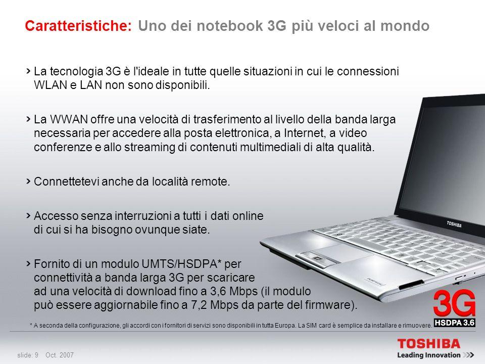 Caratteristiche: Uno dei notebook 3G più veloci al mondo