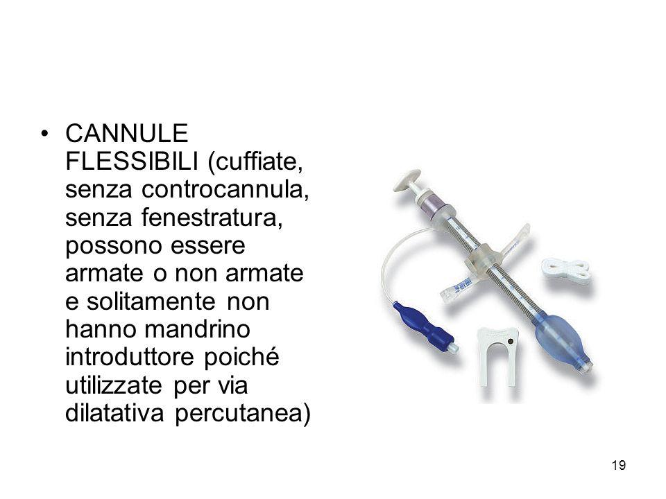 CANNULE FLESSIBILI (cuffiate, senza controcannula, senza fenestratura, possono essere armate o non armate e solitamente non hanno mandrino introduttore poiché utilizzate per via dilatativa percutanea)