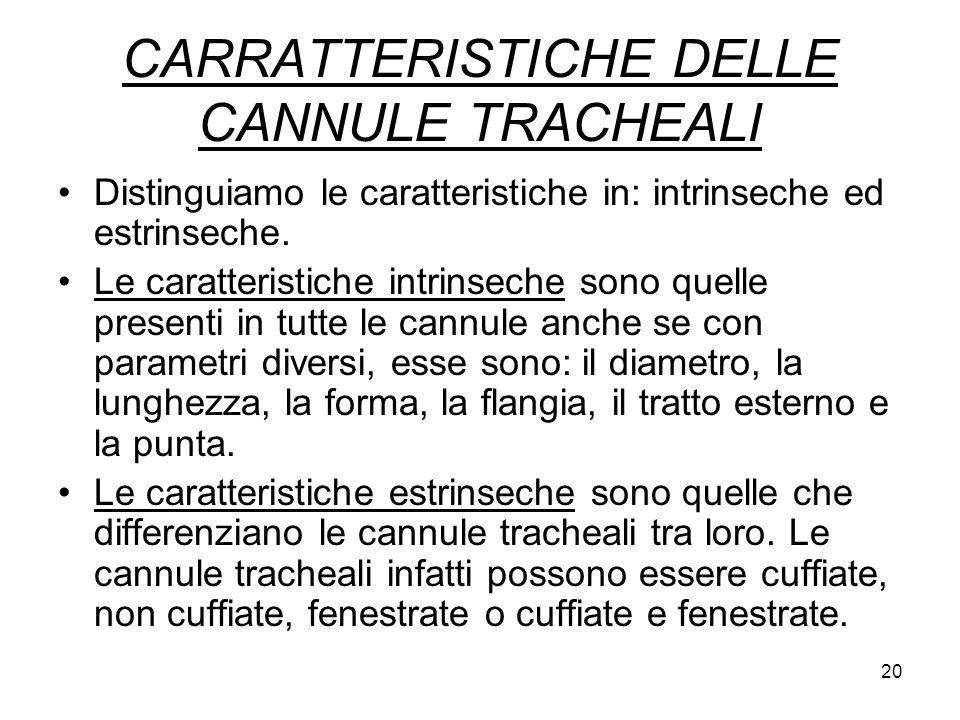 CARRATTERISTICHE DELLE CANNULE TRACHEALI