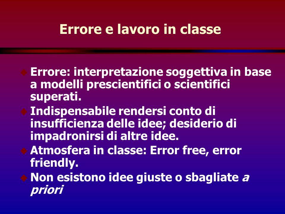 Errore e lavoro in classe