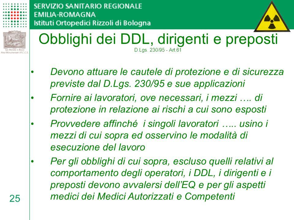 Obblighi dei DDL, dirigenti e preposti D.Lgs. 230/95 - Art.61