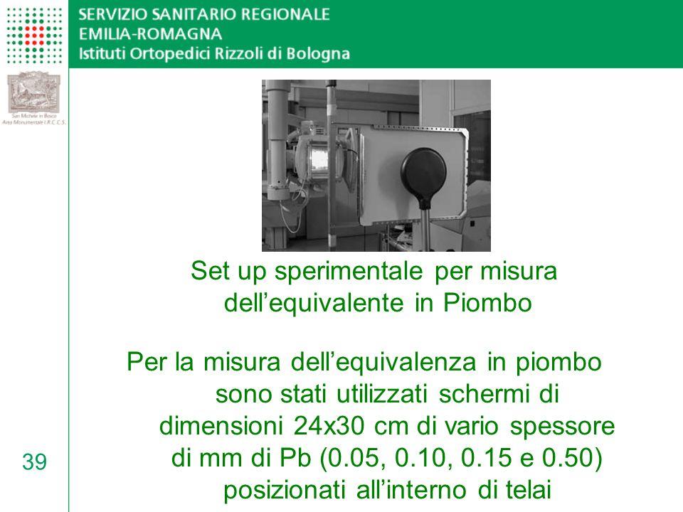 Set up sperimentale per misura dell'equivalente in Piombo