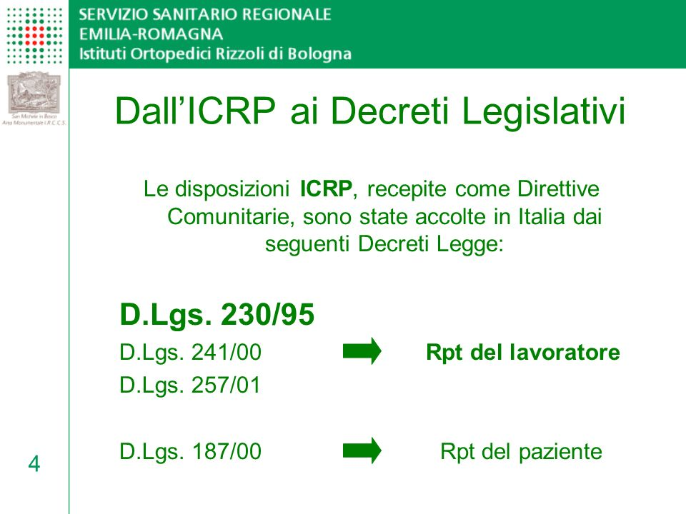 Dall'ICRP ai Decreti Legislativi