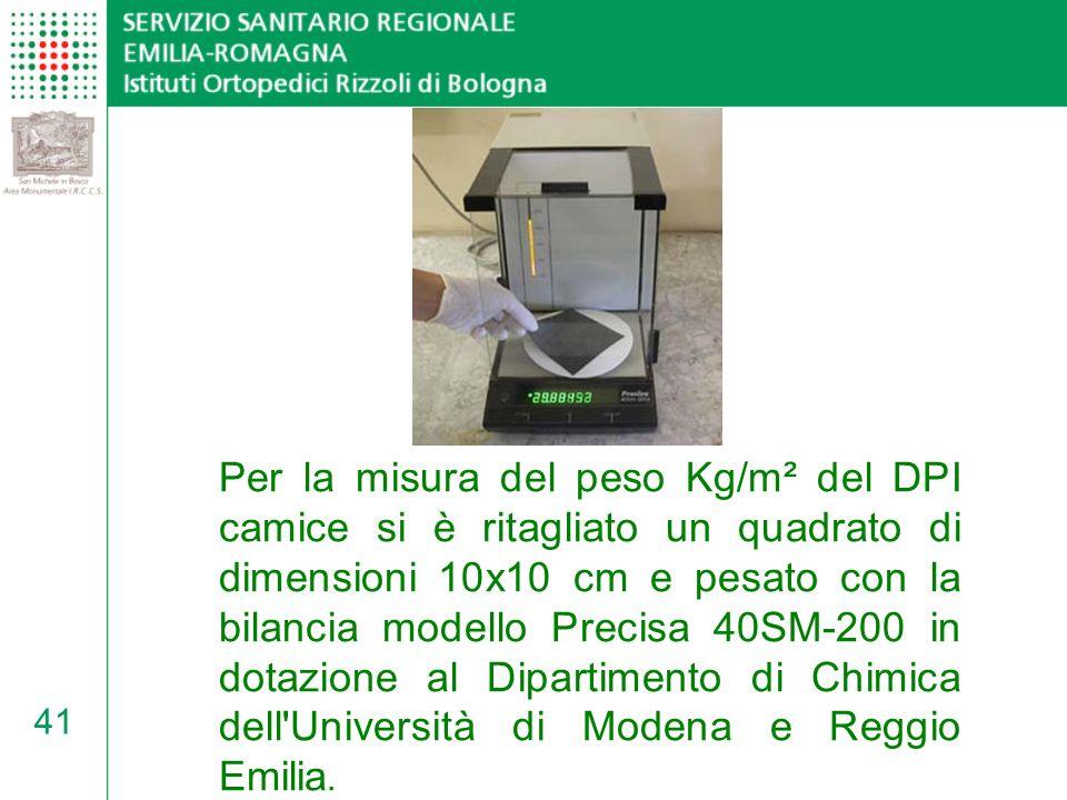 Per la misura del peso Kg/m² del DPI camice si è ritagliato un quadrato di dimensioni 10x10 cm e pesato con la bilancia modello Precisa 40SM-200 in dotazione al Dipartimento di Chimica dell Università di Modena e Reggio Emilia.